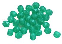 Glaskraal facetgeslepen 4mm groen. Per 50 stuks.