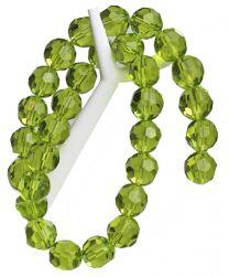 Kraal facet facetgeslepen ronde glaskraal, peridot groen, 12mm.