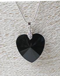 Halsketting facetgeslepen jetzwart kristalglazen hartje