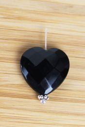 Kraal Obsidiaan facetgeslepen Hartje, 25x25mm.