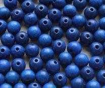 Houten kraal (midden)donker blauw, 10mm. Per 20 st
