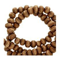 Kraal hout tabaks bruin 8mm. Per 100 stuks.