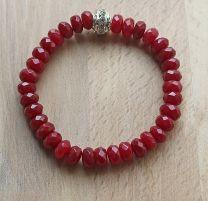 Armband jade donker rode facet geslepen kralen 5x8mm