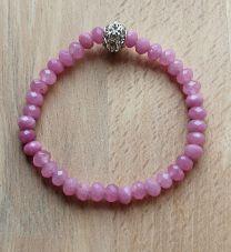 Armband jade facetgeslepen roze kralen 4x6mm