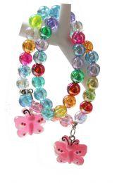 Kinderarmband kleurige kralen met roze vlinder