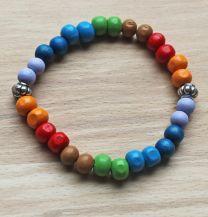 Armband houten 8mm kralen Chakra kleur