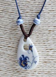 Halsketting druppelhanger met bloem