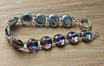 Armband vitrail kleurige 12mm kralen met kristal kralen