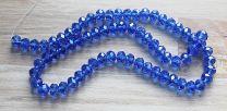 Snoer facetgeslepen kristal kralen 8x6mm saffierblauw, crystal suncatcher.