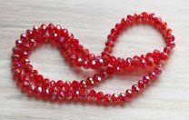 Snoer facetgeslepen kralen rondel, rood met AB coating.  6x4mm