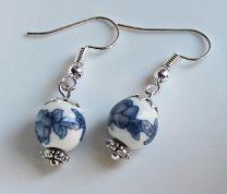 Oorbellen Lotus blauwe bloemen