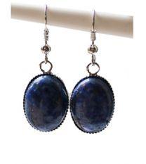 Oorbellen Lapis Lazuli hangers ovaal, 20x13mm