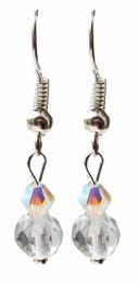 Oorbellen Bergkristal met Swarovski bicone, silverplated oorhaakjes
