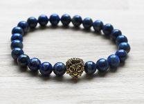 Armband Lapis Lazuli kralen 8mm met leeuwenkop goudkleur