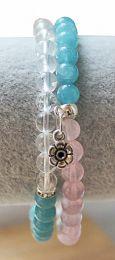 Armband Aquamarijn, Bergkristal en Rozekwarts 6mm kralen met bedeltje