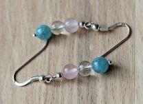 Oorbellen Angeliet, Bergkristal en Rozekwarts, zilveren oorhaken