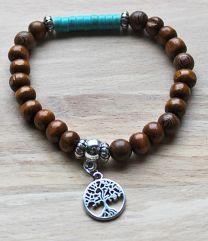 Armband hazelnoot bruine 8mm kralen met turkooiskleur kralen