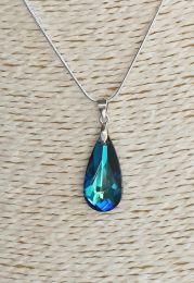 Ketting Swarovski Crystal Bermuda blauw 24x12mm, sterling zilver hangeroog