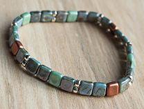 Armband Tila zacht blauw, groen en koper