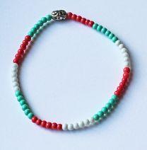 Armband turkoois-, koraal- en witte kleuren, 3mm