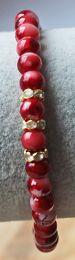 Armband gemeleerd rode 6mm kralen met strass kraaltjes
