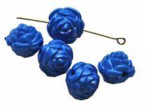Acryl kralen ronde blauwe rijgroosjes, 12mm. Per 5 stuks.