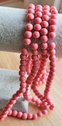 Glaskralen opaque zacht roze 4mm, per 50 stuks.