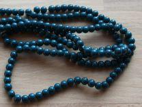 Glaskralen opaque Teal (groen-blauw) 6mm, per 50 stuks