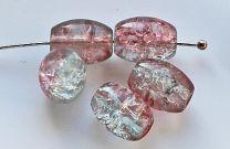 Glaskraal crackle grijs-roze 10x8mm. Per 14 stuks.