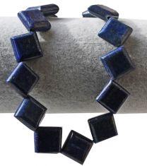 Kraal Lapis Lazuli vierkante kraal 14x14x4mm. Per kraal.