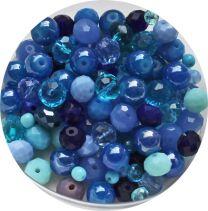 Zakje glaskralen mix blauw, 3-8mm. Per 10 gram