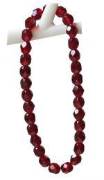 Armband facetgeslepen robijn rode glaskralen 6mm.