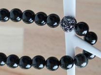 Armband Agaat kralen zwart 10mm met leeuwenkop