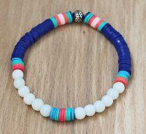Armband navy blauwe katsuki kralen en witte glaskralen