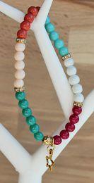 Armband kleurige mix kralen 6mm, met strasskralen en bedeltje