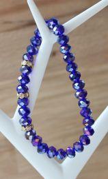 Armband facetgeslepen blauwe Swarovski style kristalkralen 6x8mm met strass kraaltjes
