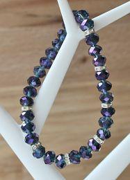 Armband facetgeslepen 6x8mm kristalkralen met lila/paarse diamantcoating