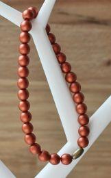 Armband 6mm matte metallic bronskleurige kralen
