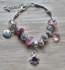 Armband roze Pandora style met zwaan hanger