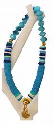 Armband blauwe facetgeslepen glaskralen, katsuki kralen en schelp bedeltje