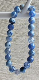 Armband Vuur Agaat kralen blauw 8mm.