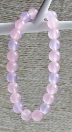 Armband jade roze en lila roze 8mm
