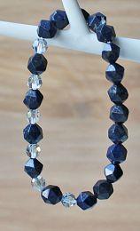 Armband facetgeslepen Lapis Lazuli kralen en Swarovski kralen