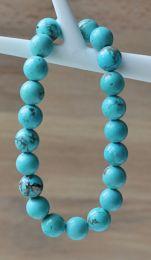Armband turkoois blauwe 8mm kralen, 18-19cm
