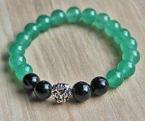 Armband groene en zwarte Agaatkralen 8mm. met leeuwenkop