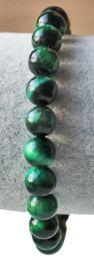 Armband Tijgeroog groene kralen 8mm