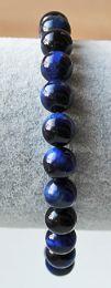 Armband Tijgeroog blauwe kralen 8mm