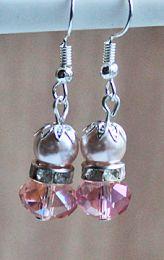 Oorbellen roze facet met strass