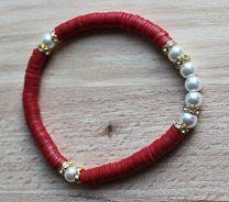 Armband Katsuki kralen rood met pareltjes