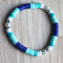 Armband Katsuki kralen blauw-wit-aquamarijn